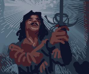 Inigo Montoya holding up his sword