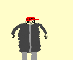 Guy with a MAGA hat and a MEGA Coat