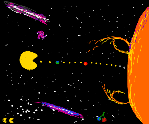 Pac Man prepares to eat sun, earth, and mars