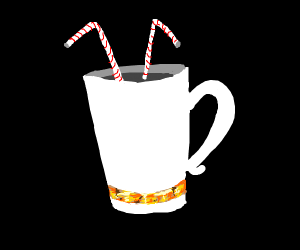 Gold laced mug with straws out the top