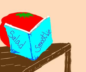 Tomato reading a book