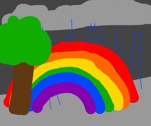 A tree in front of a rainbowwhile its raining
