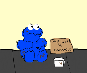 Cookie Monster Homeless on the Streets