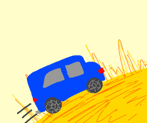 Car driving on the sun