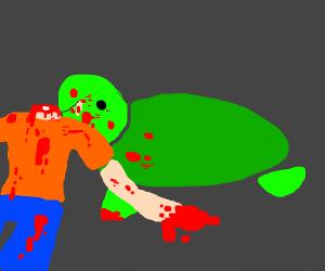 Turtle devours man