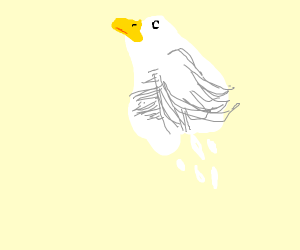 Duck ghost flying into the sky