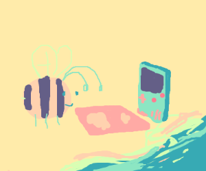 Bee, beach, and GameBoy have a picnic