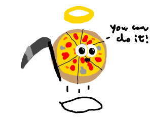 Flying pizza with scythe and halo is encourag