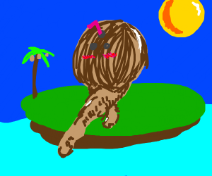 Coconut with thicc legs on an island