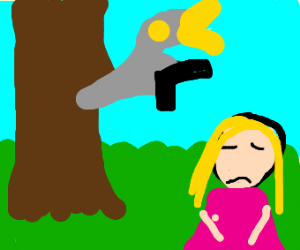 Bird thing with a gun on a tree and sad girl