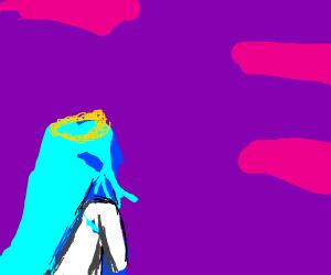 A blue princess stares into the purple sky