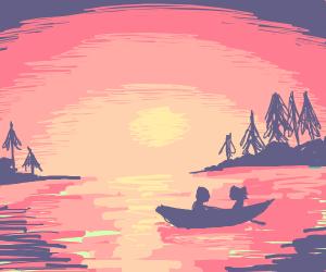 Row boat at sunset