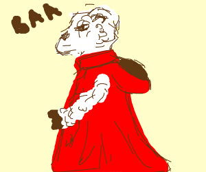sheep wearing lovely red coat!