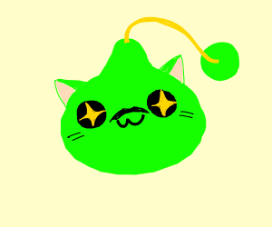 Green slime cat with moustche