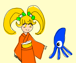 Anime girl in kimono, is going to get squid.