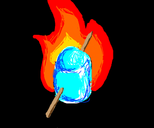 Blue marshmallow on fire