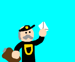 Old moustachioed UPS delivery guy with letter