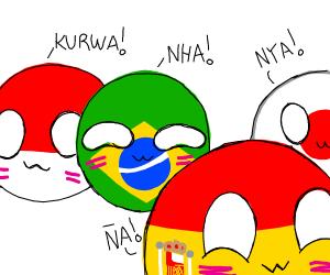 poland&japan&brazil&spain flags w/ cute faces