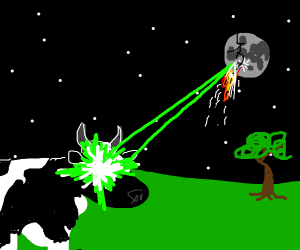 A cow blowing up the moon.