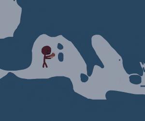 a guy eating a mushroom on the sea
