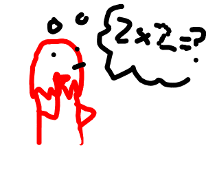 red guy doing math