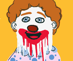 Clown's face paint is melting