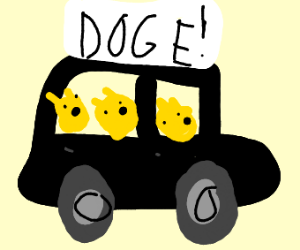 Doge Driving A Car full of other Doges