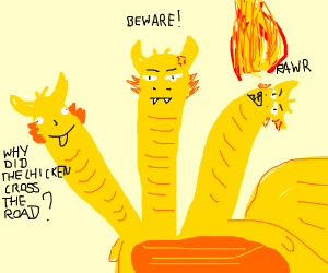 Three headed yellow dragon; left head derps.