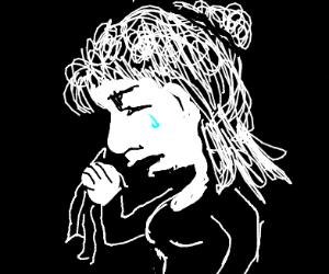 Sad girl (black and white)