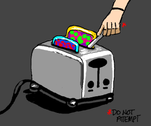 colourful toast gets stuck in a toaster
