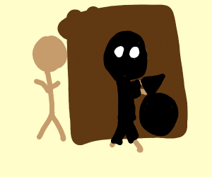 Stereotype robber hiding behind a door