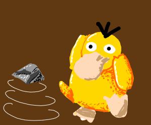 Psyduck lifting a rock