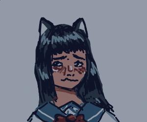 blushing anime schoolgirl