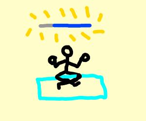 Meditating man obtains lightsaber