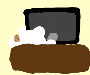 Polar bear, eatin cookies in front of TV