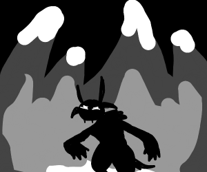 Silhuet of an yeti, in the snowy Mountains