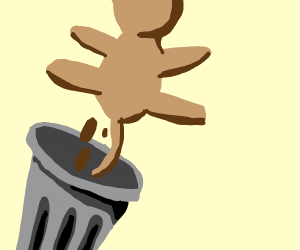 Cat poops in a trash can