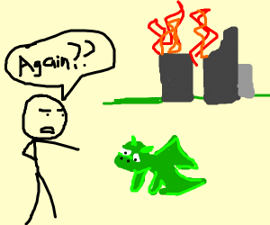 Baby dragon burned the city again!