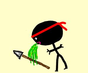 Ninja pukes up a spear