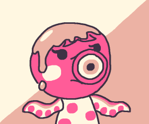 Marina from Animal Crossing has syrup on head