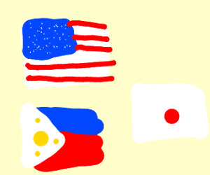 American, fillipino and japanese flags