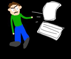 Man throws paper wad away