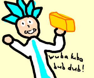 Rick takes a block of cheese