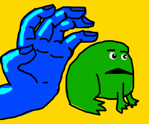 blue hand is coming for frog