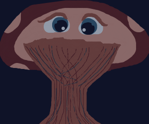 A mushroom plant with eyes
