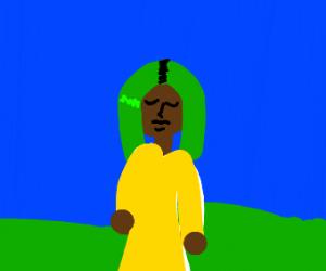 dark skinned woman with green hair in meadow