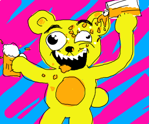 Drunk yellow bear