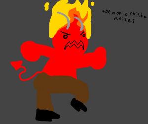 Angry man with red fiery hair