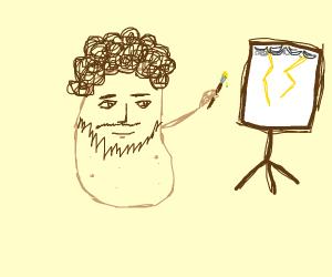 Potato Bob Ross paints lightning