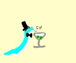 Fancy Dratini drinking a martini